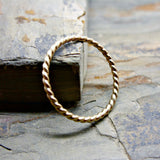 Tiny Gold Twist Band - Solid 14k Gold Eternity Ring - Thin Wedding Band, Anniversary Ring, Promise Ring, or Stacking Ring
