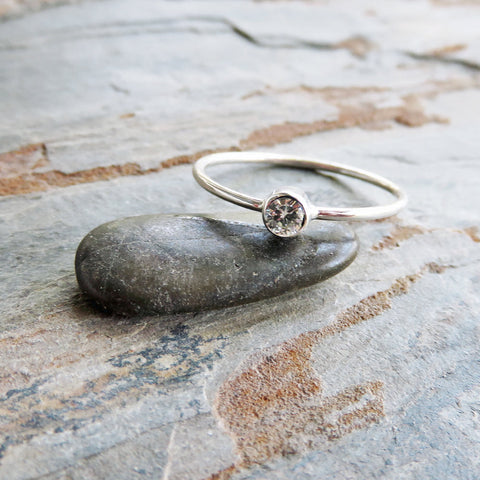 Tiny Moissanite Solitaire Ring in Sterling Silver: Ethical Diamond Alternative