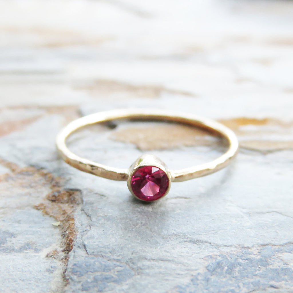 Size 5.5 Tiny, Solid 14k Gold Lab Grown Ruby Ring with Hammered Band - July Birthstone Mother's Stacking Ring