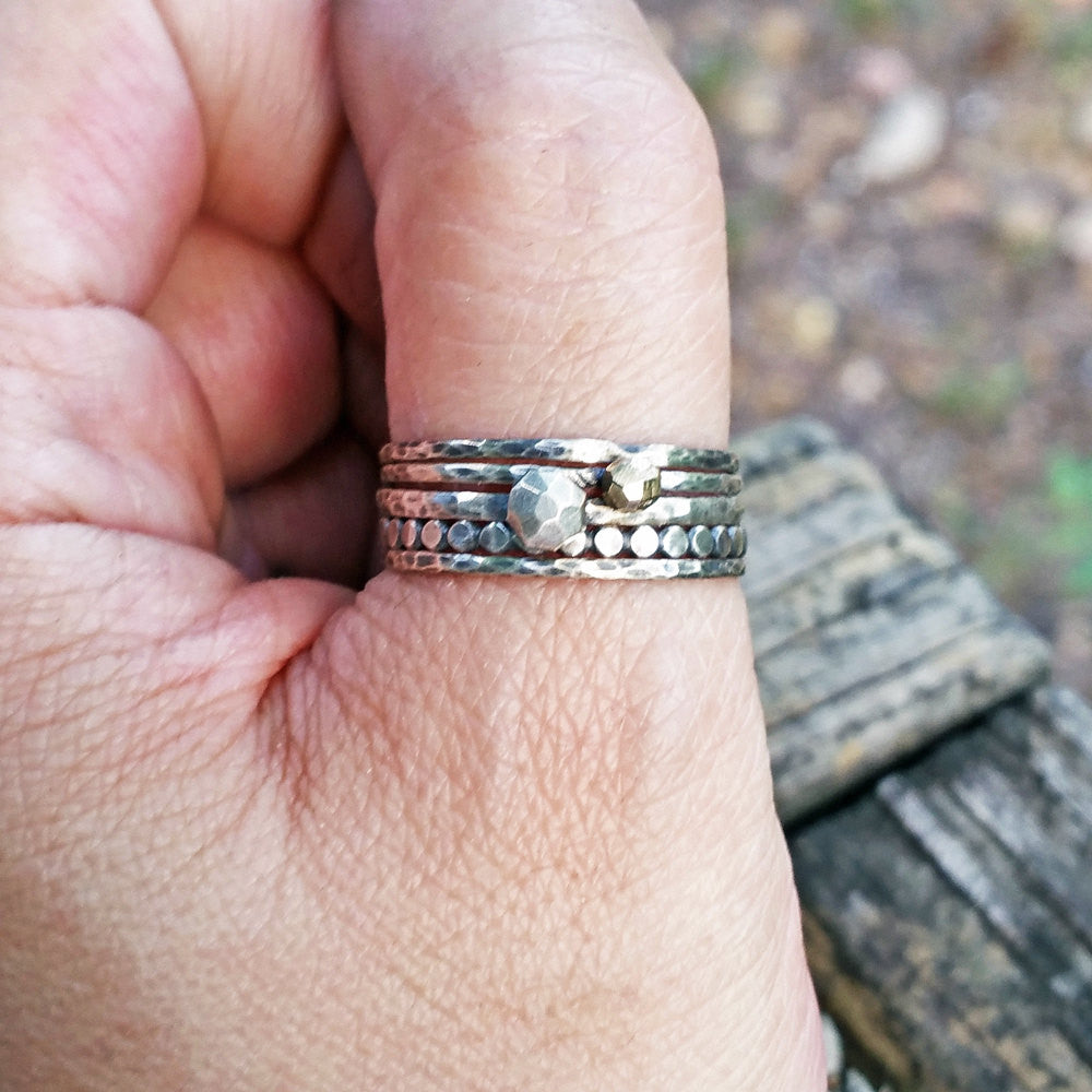 Stacking Set of Five Rings - Solid 14k Gold and Antiqued Sterling ...