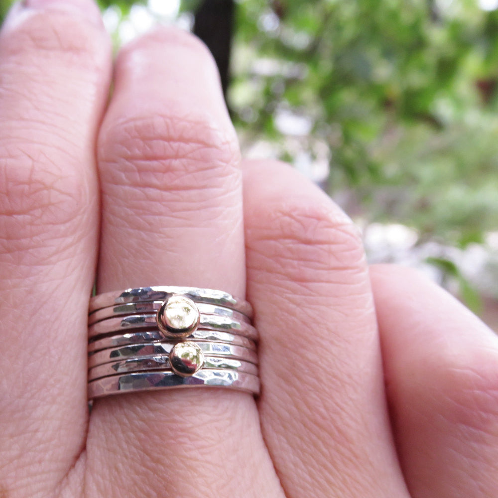 Solid 14k Little Gold Dots and Sterling Silver Stacking Rings Set ...