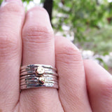 Solid 14k Little Gold Dots and Sterling Silver Stacking Rings Set - Set of Seven Hammered Rings - Two Tone Mix and Match Stacking Rings Set
