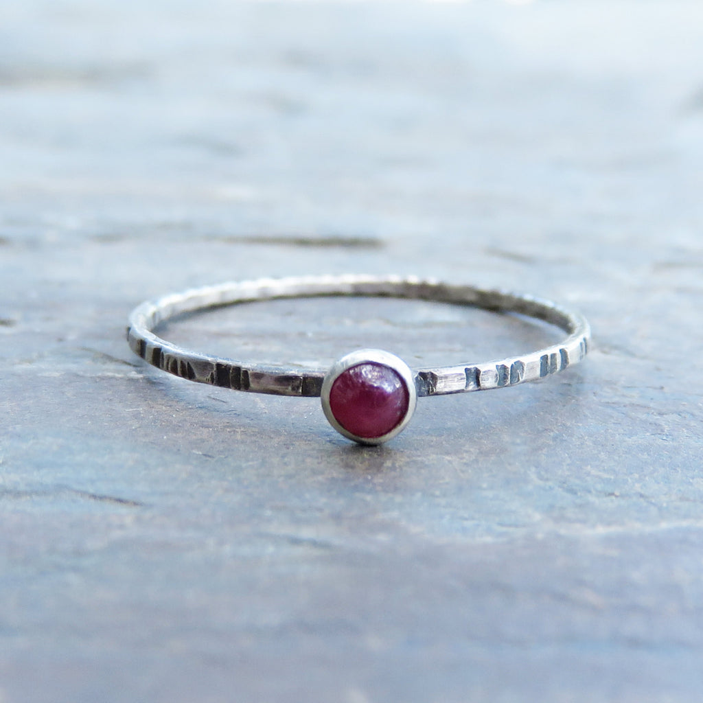 Size 8 Tiny Ruby Stacking Ring in Notched, Antiqued Sterling Silver - Super Thin Micro Band - July Birthstone Mother's Ring
