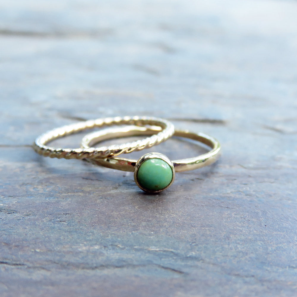 3d60781fce2153 Turquoise Stacking Rings Set in Solid 14k Gold with Choice of Blue or Green  - Gold