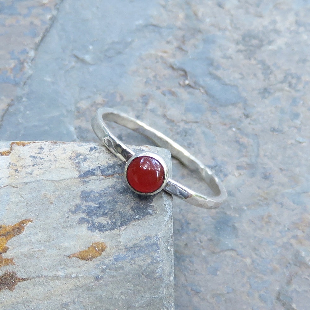 Size 5 Carnelian Stacking Ring in Hammered Sterling Silver - Natural Stone Stacker - Round Stone, Smooth Cabochon Gemstone Ring