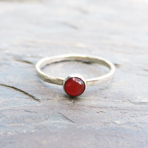 4mm Carnelian Stacking Ring in Hammered Sterling Silver - Natural Stone Stacker - January Birthstone Mother's Ring