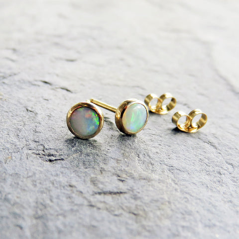 Natural Opal 14k Gold Stud Earrings - 4mm Small Australian Opal Post Earrings - October Birthstone - Collection Quality Stones
