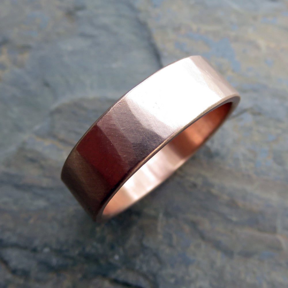 Hammered Gold Wedding Ring: 6mm Wide Band in Solid 14k Yellow or Rose Gold