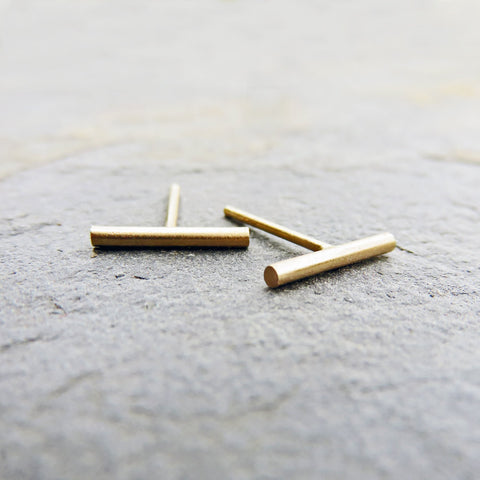 Tiny Matte Gold Bar Earrings in Yellow or Rose Gold