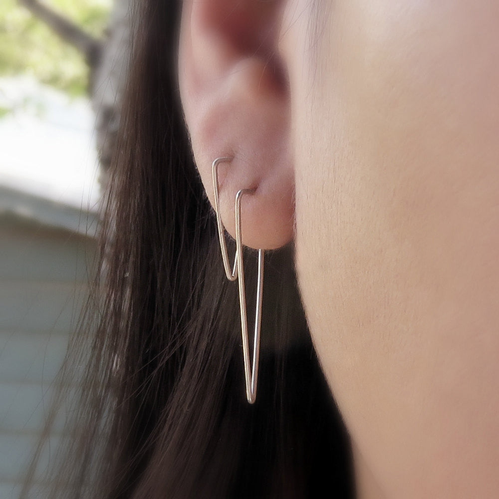 Simple Triangle Earrings - Geometric Triangle Hoop Earrings - Minimalist Line Earrings in Matte Sterling Silver or 14k Gold - Spike Earrings