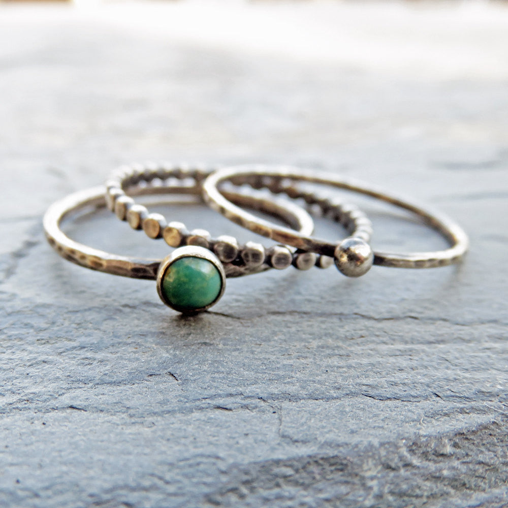 Size 9 Green Turquoise Stacking Rings Set in Antiqued Sterling Silver Featuring Kingman, Arizona Turquoise