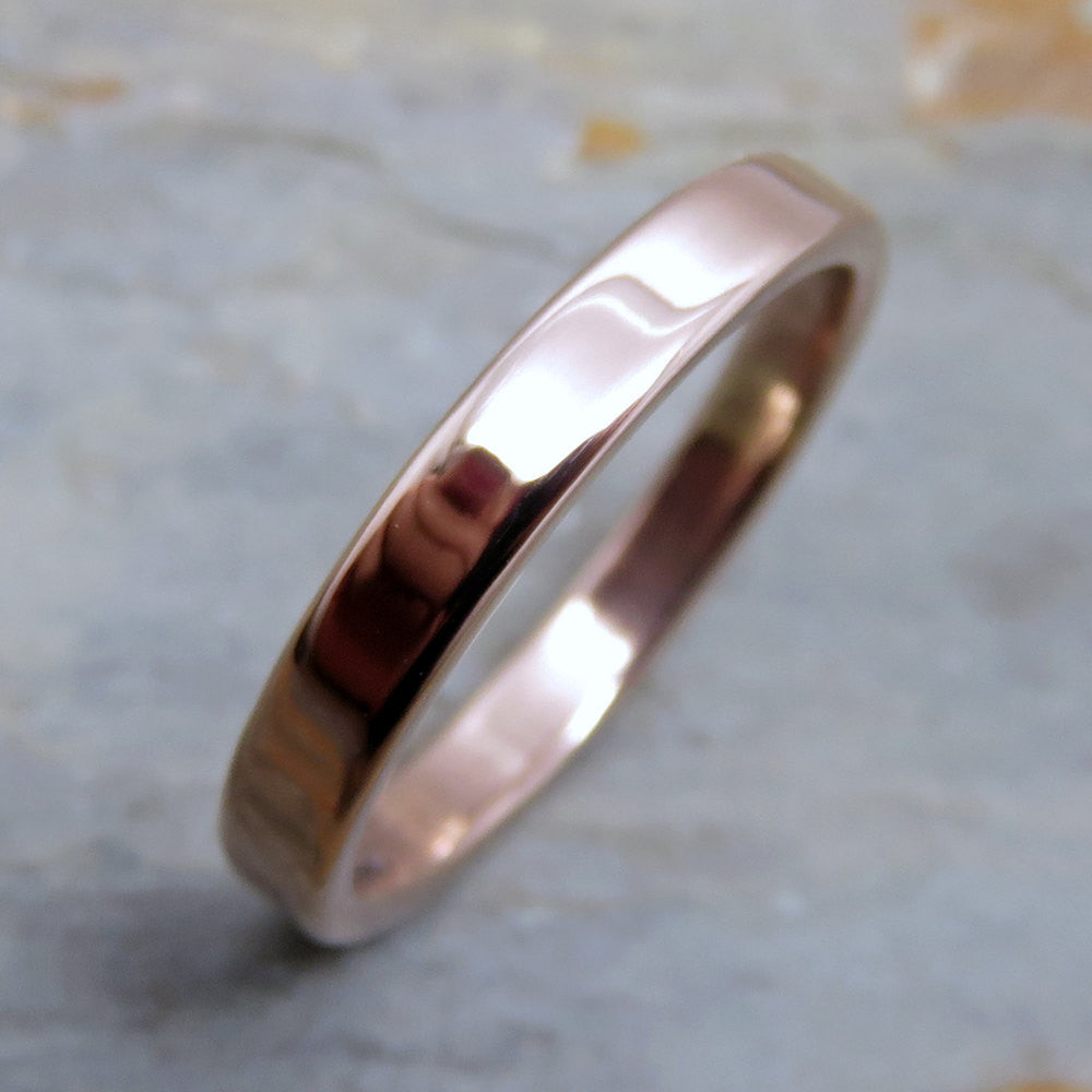 Rose Gold Wedding Band - 3mm Flat Wedding Ring in Solid 14k Gold - Polished or Matte Gold Wedding Ring