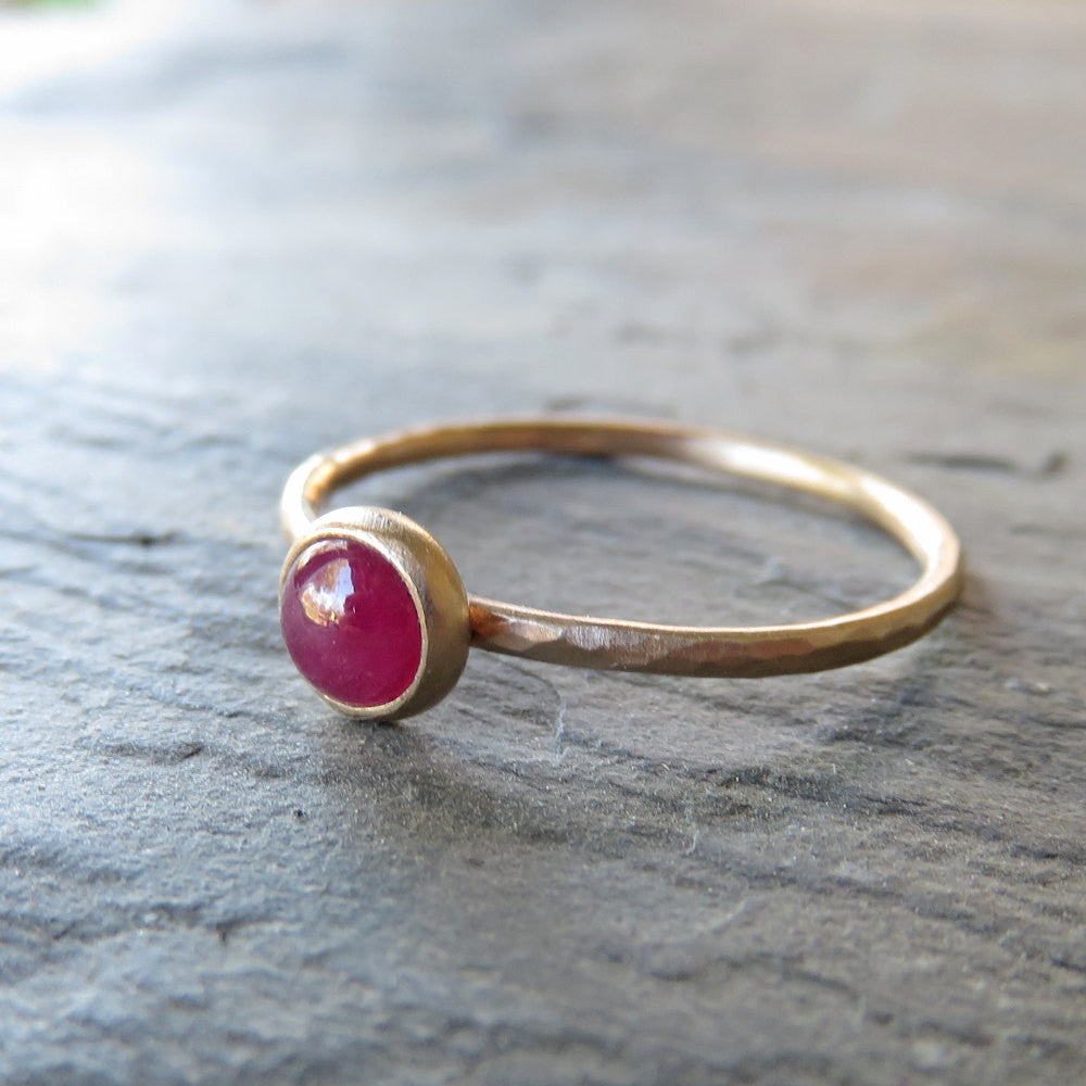 Ruby Ring - Gemstone Stacking Ring in Hammered, Matte 14k Yellow Gold