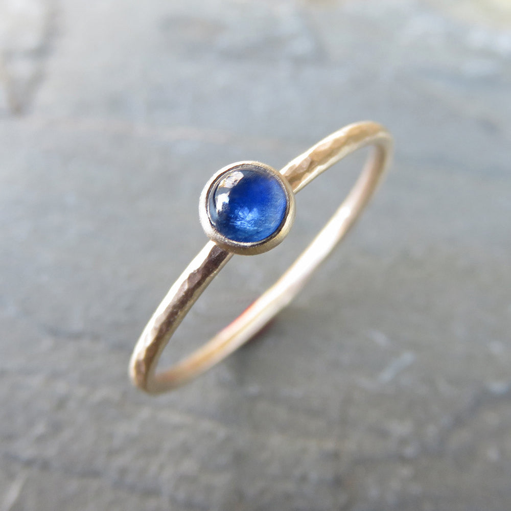 Sapphire Ring in Matte, Hammered 14k Gold