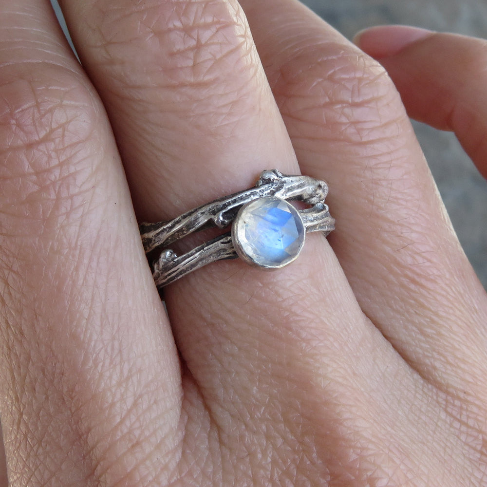 Sterling Silver Moonstone Twig Ring Wedding Set Matching Antiqued