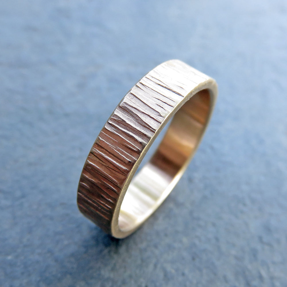 Wide and Flat Tree Bark Wedding Band in 14k Gold, 5mm Band