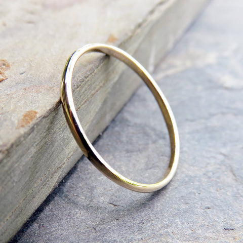 Simple Thin Traditional Gold Wedding or Promise Ring in Solid 14k Yellow Gold: 1.5mm Half Round Ring