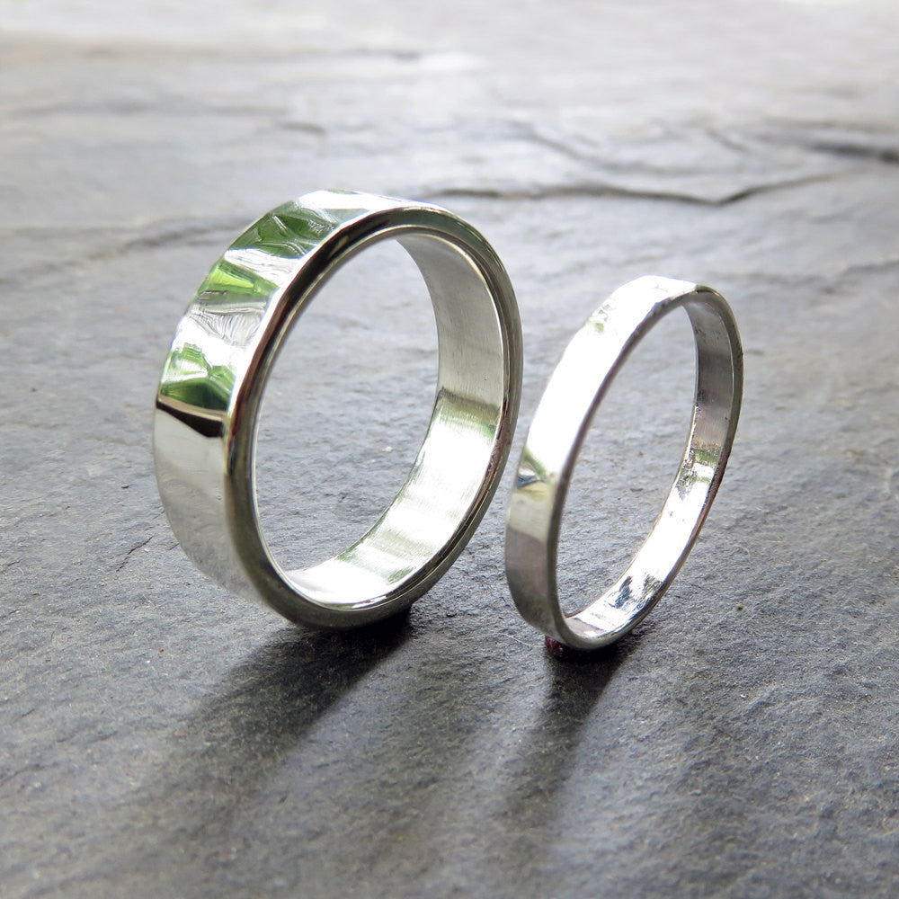 Matching Hammered Wedding Band Set in Sterling Silver: 6mm and 3mm Flat Bands