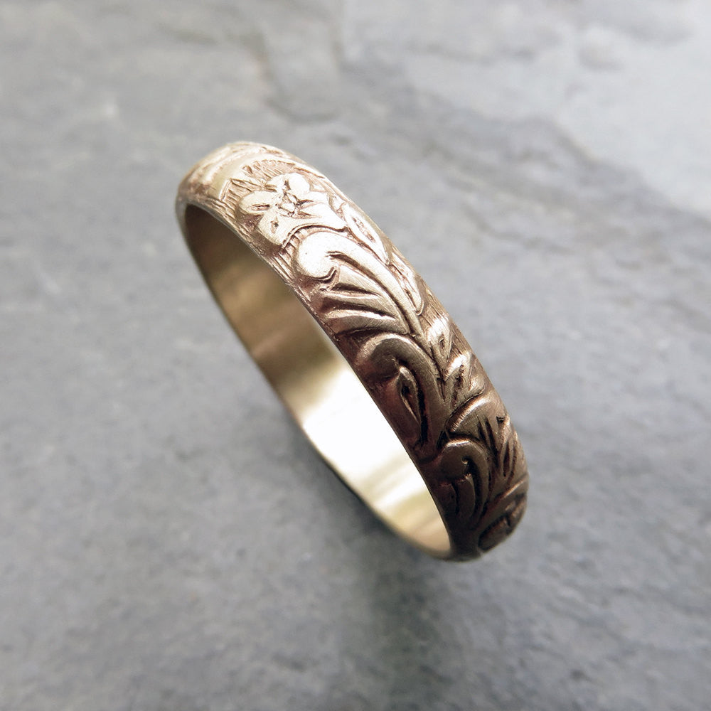 Solid 14k Yellow Gold Floral Wedding Band - Flowering Vine and Leaf Patterned Gold Band, High Polish or Matte Finish - 4mm Half Round Ring