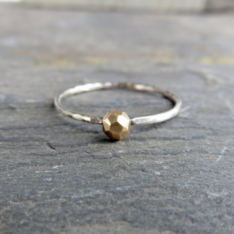 Solid Faceted 14k Gold and Sterling Silver Rough Rock Solitaire Promise Ring, Tiny Pebble Ring, Alternative Engagement / Rustic Wedding Ring