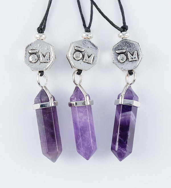 Amethyst crystal pendants