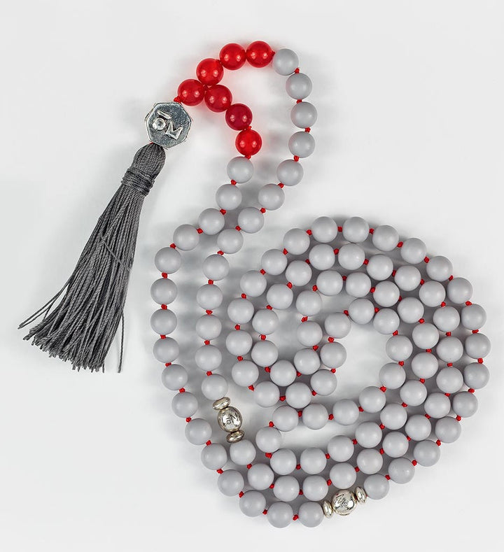 mala beads, mala necklace, pearl shell, red agate