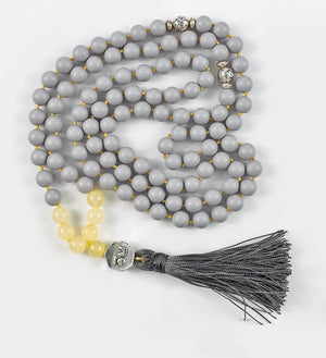 mala beads, mala necklace, pearl shell, yellow jade