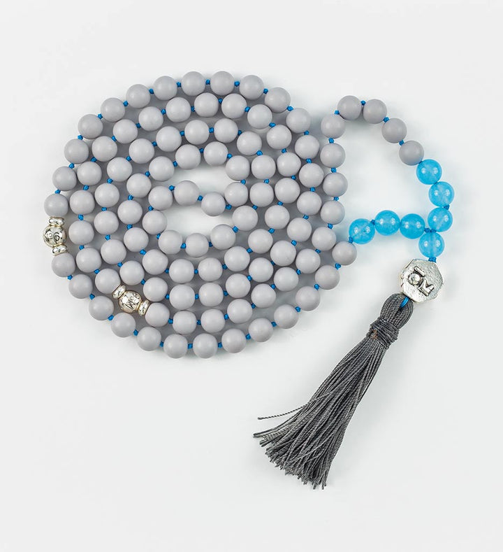 mala beads, mala necklace, pearl shell, blue jade