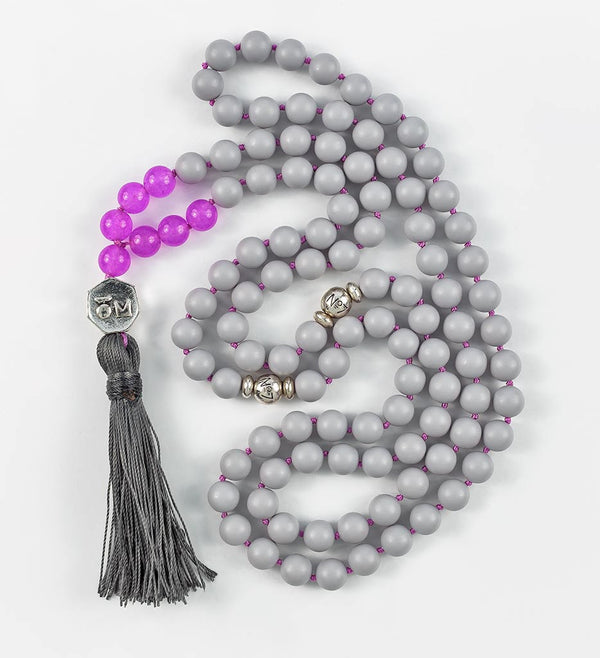 mala beads, mala necklace, pearl shell, purple jade