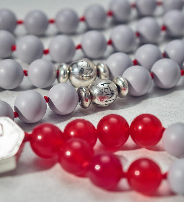 mala beads, mala necklace, pearl shell, red agate - detail