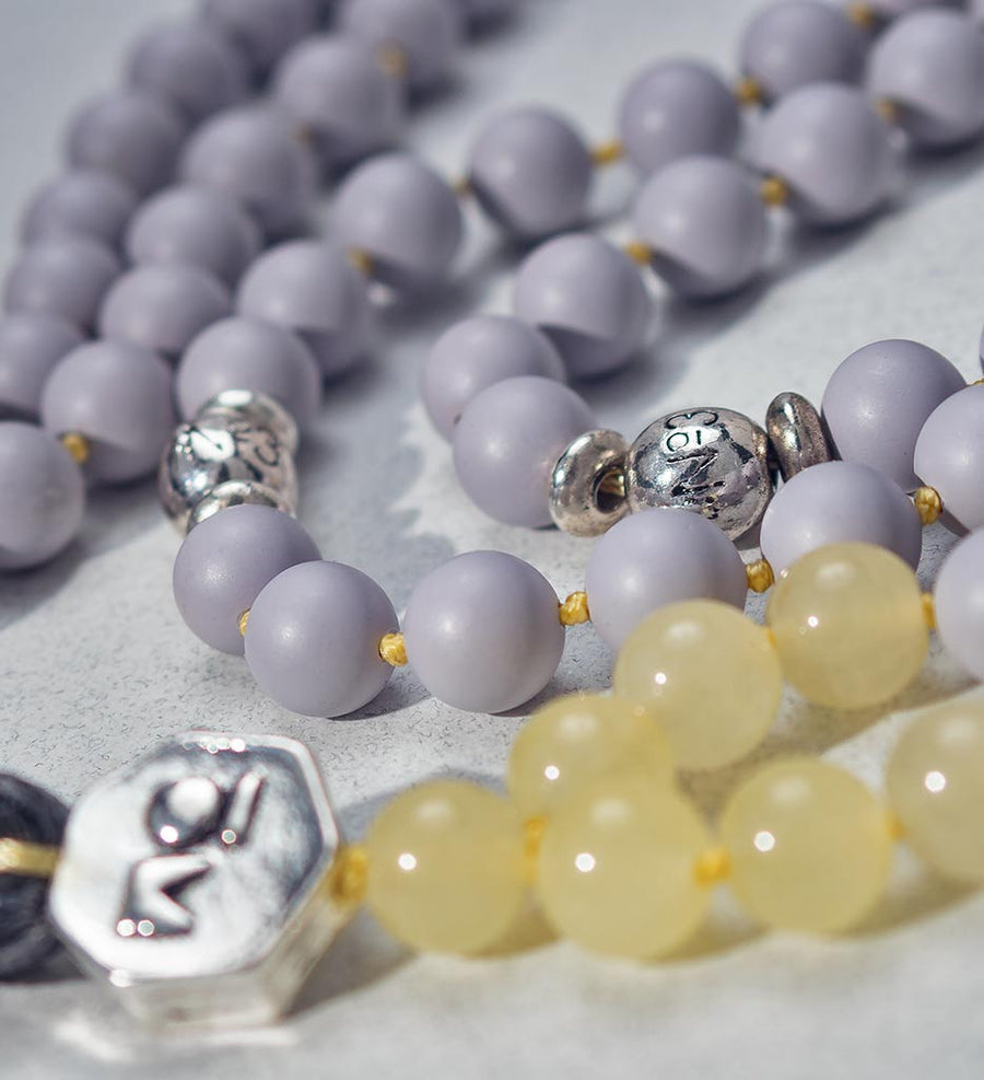 mala beads, mala necklace, pearl shell, yellow jade - detail