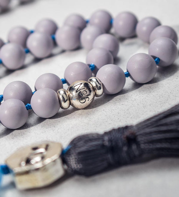 mala beads, mala necklace, pearl shell, blue jade - detail