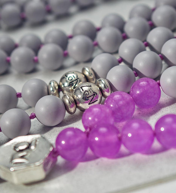 mala beads, mala necklace, pearl shell, purple jade - detail