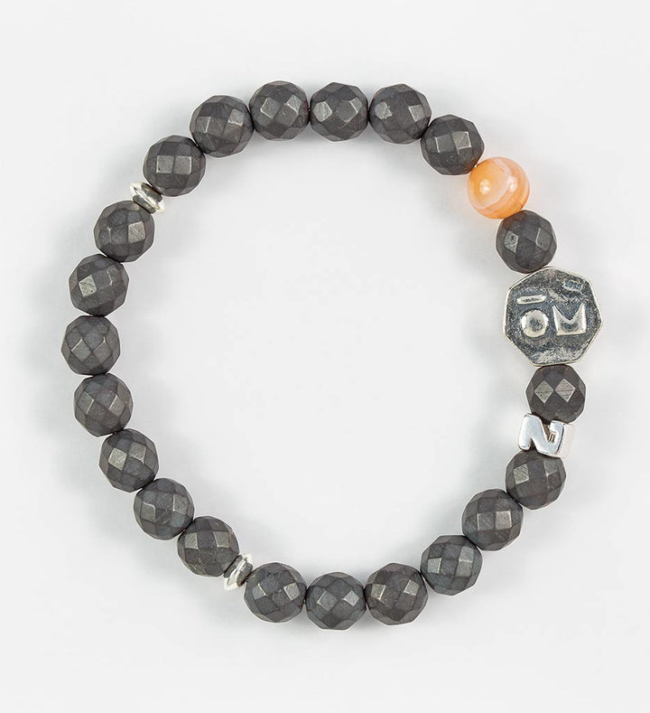 bracelet, faceted hematite, orange agate