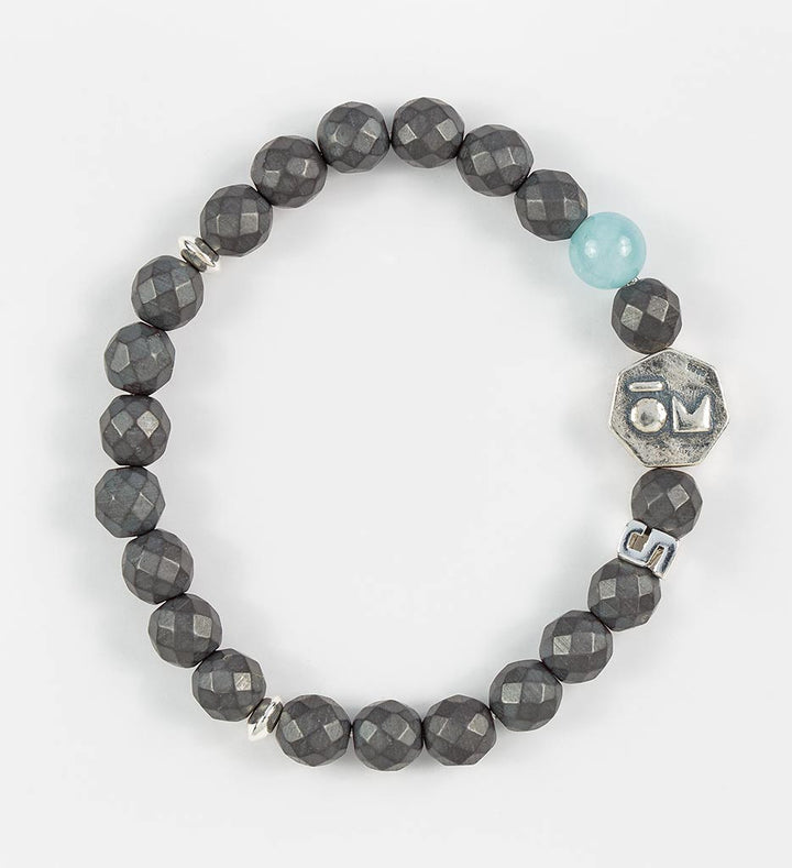 bracelet, faceted hematite, aquamarine