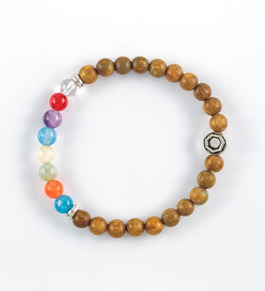 bracelet, green sandalwood, red agate, orange agate, yellow jade, amazonite, aquamarine, blue apatite, amethyst, clear quartz