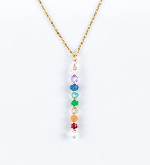 necklace, chakra stones, gemstones, gold fill chain