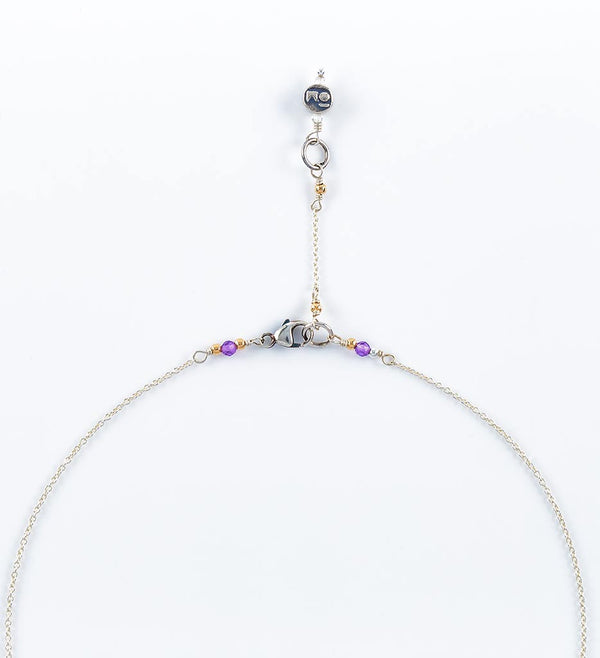necklace, chakra stones, gemstones, silver chain - detail