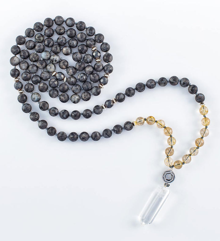 mala beads, mala necklace, MATTE black labradorite, golden rutilated quartz, pyrite, clear quartz