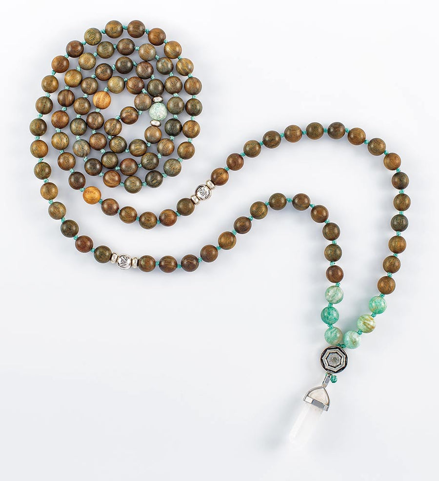 mala beads, mala necklace, amazonite, green sandalwood