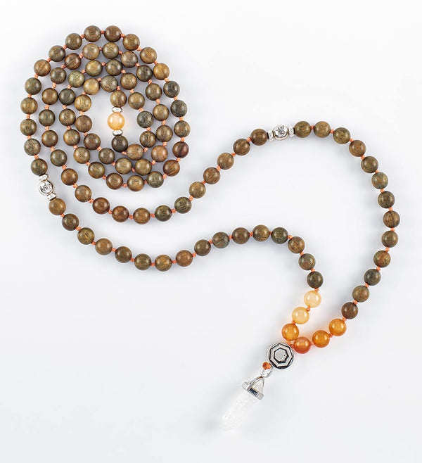 mala beads, mala necklace, orange agate, green sandalwood