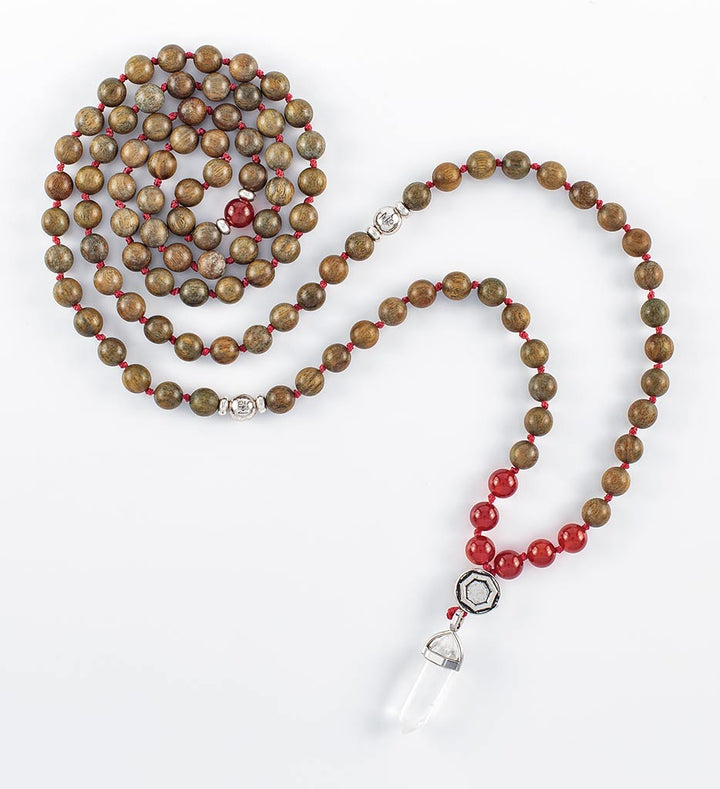 mala beads, mala necklace, red agate, green sandalwood
