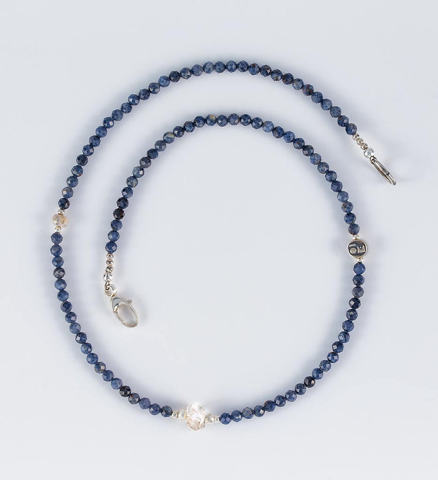 necklace, faceted dark blue sapphire, white sapphire, raw herkimer crystals