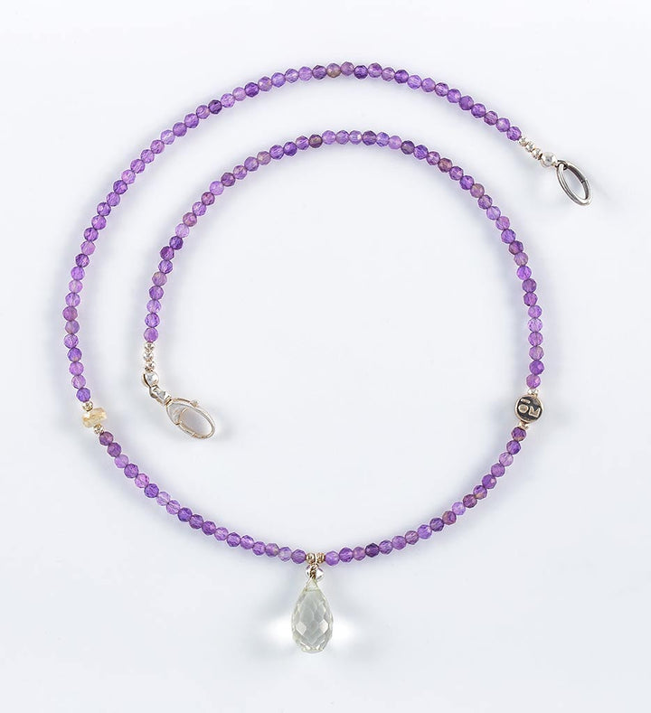 necklace, faceted amethyst, white sapphire, green amethyst teadrop