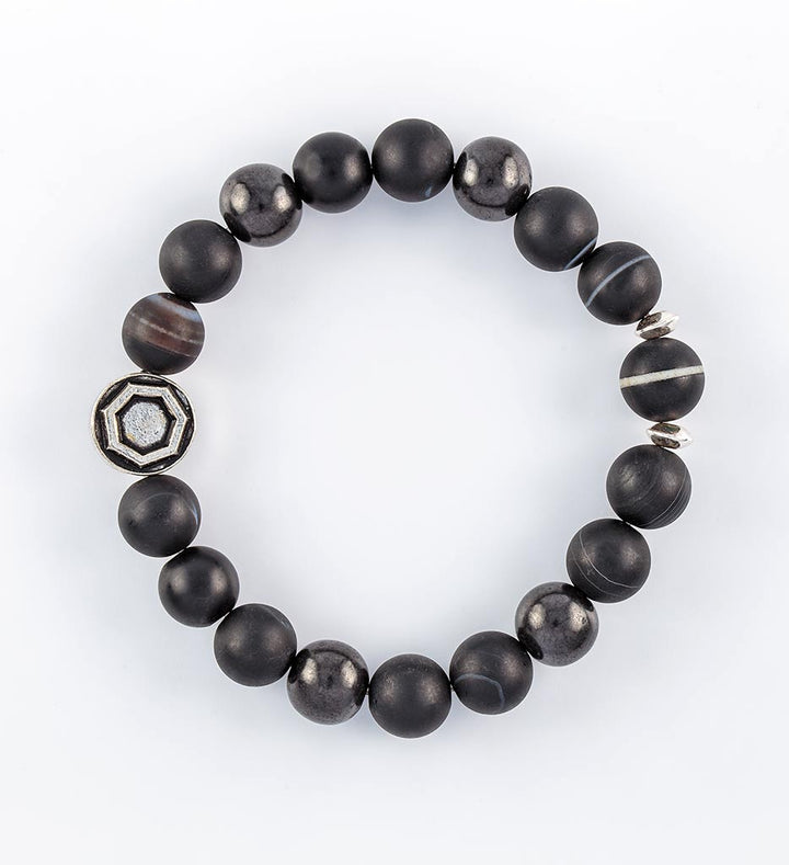 shungite, black sardonyx, striped dzi bead bracelet