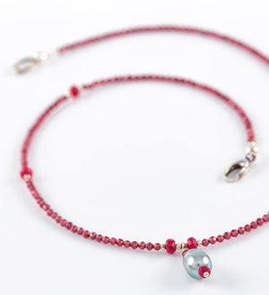 necklace, faceted garnet, faceted red ruby, grey pearl