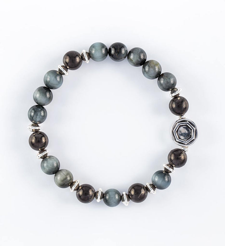 Shungite Golden Ratio Hawk's Eye Wrist Mala