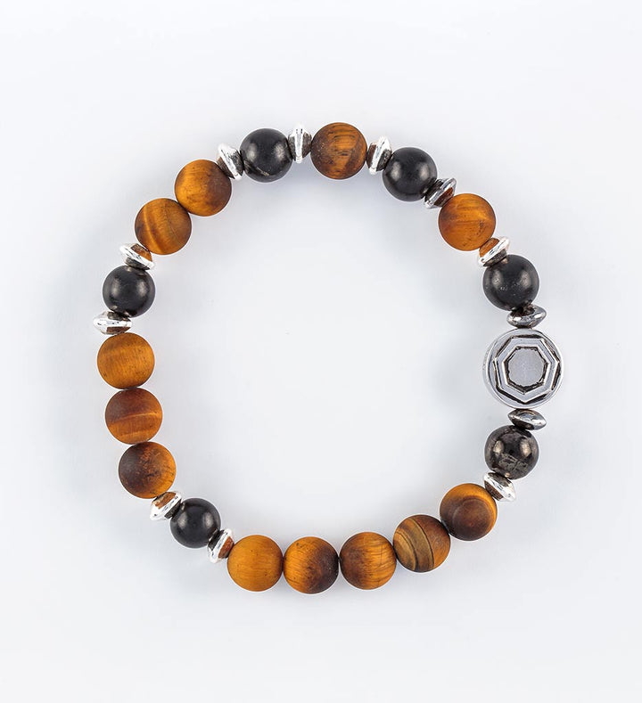 shungite, matte yellow tiger eye bracelet