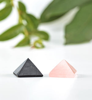 shungite pyramid, rose quartz pyramid