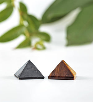 shungite pyramid, tiger eye pyramid